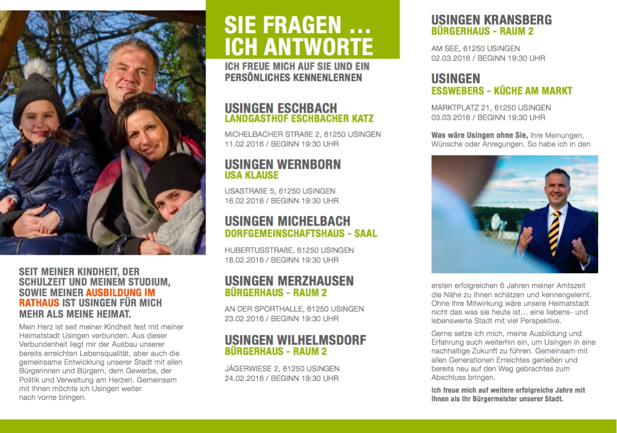 Usingen wählt Bürgermeister Steffen Wernard - Mein Wahlflyer 2016