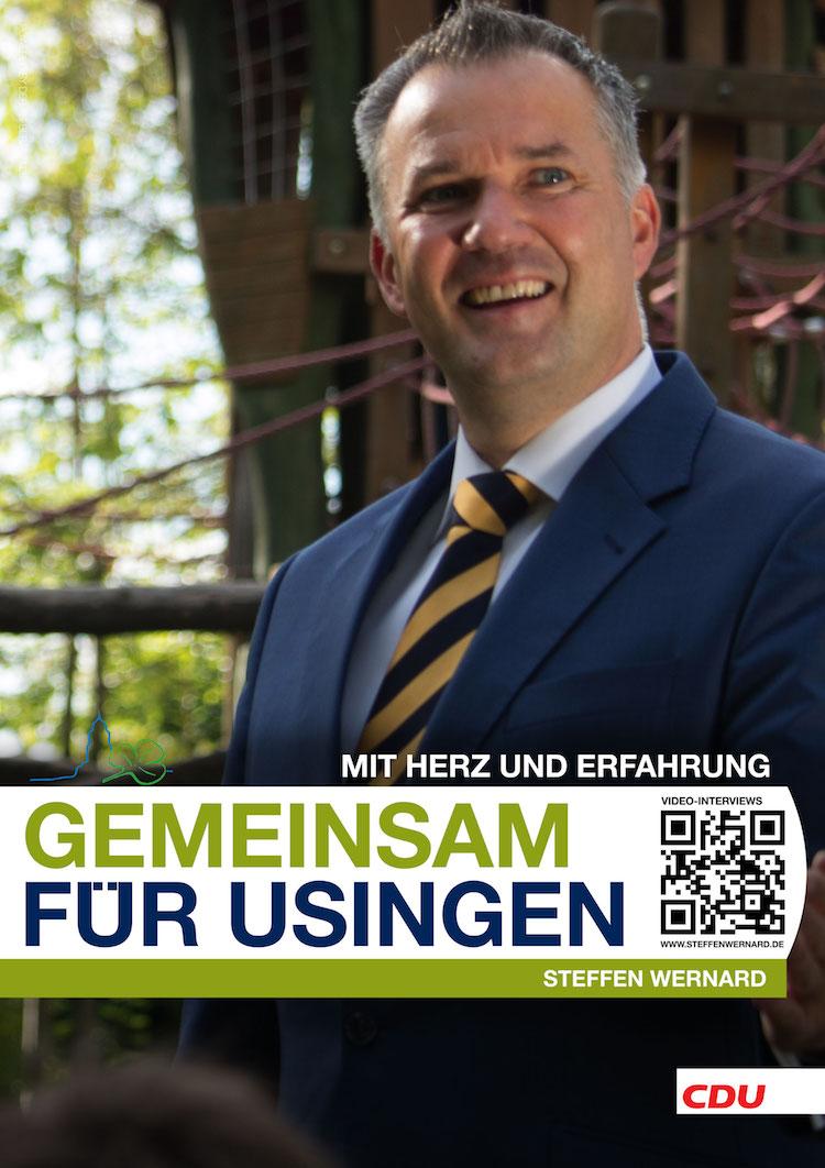 Usingen wählt Steffen-Wernard. Bürgermeister Wahlplakat. Variante-Hochkant-04